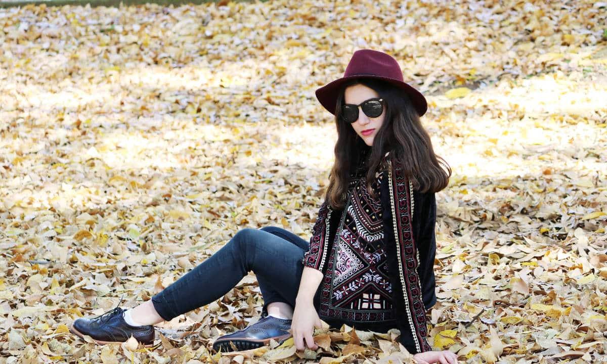 fashion blogger chaqueta de terciopelo